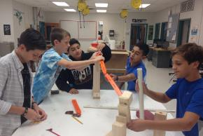 students building structure